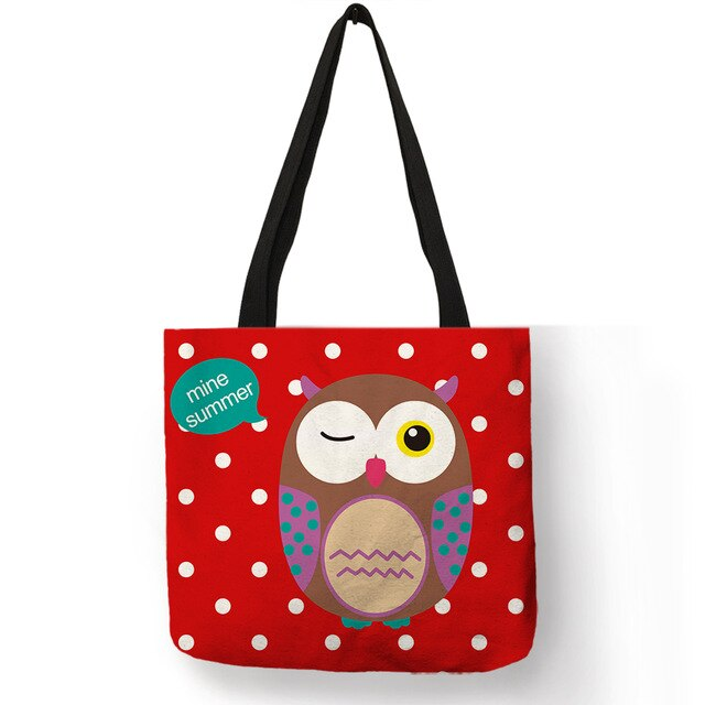 Lovely Cartoon Blink Owl Printing White Dot Tote Bag Daily Office School Casual Hand Bags Linen Purple Red Green Shoulder Bag
