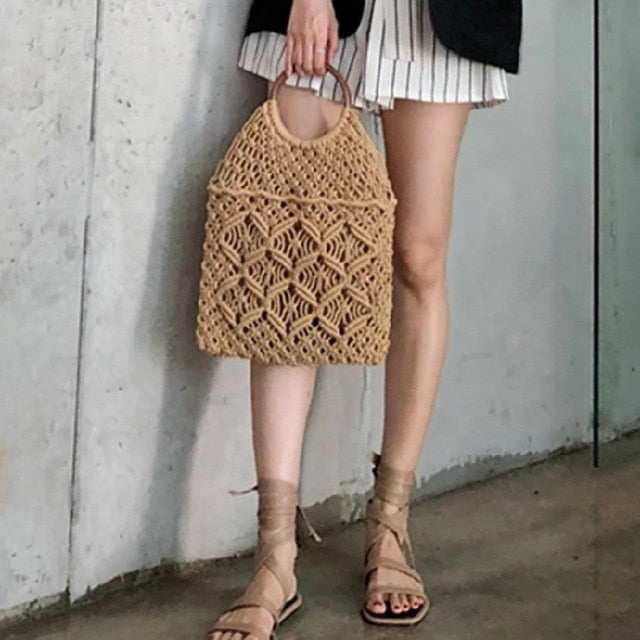 Straw bag Square Shape Black Box Rattan Bags Beach Bag Phone Shoulder Slant Span Women Handbags Metal Decoration
