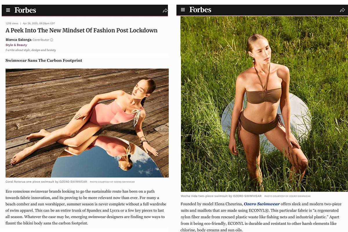 Forbes on Ozero Swimwear, April 2020