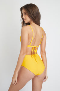 Ozero Swimwear Caspian Triangle Top in Tangerine Orange, back view