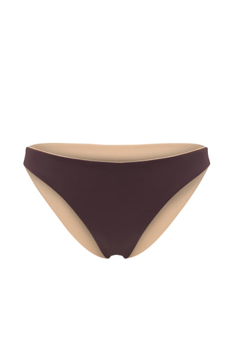 Ozero Swimwear Como Bikini Bottom in Dark Brown, reversible, sustainable fabrics, made in Bali.