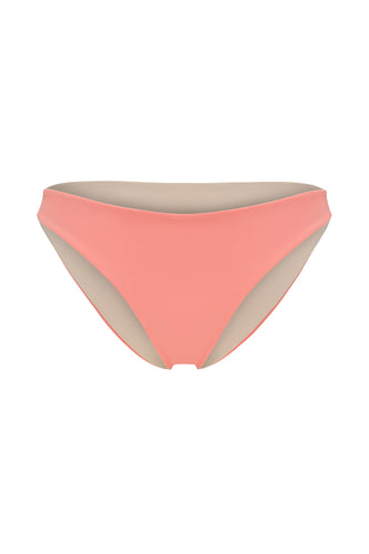 Ozero Swimwear Como Bikini Bottom in Dusty Coral, reversible, sustainable fabrics, made in Bali.