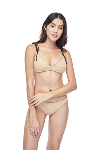 Ozero Swimwear Como minimal Bikini Set in Dark Brown, on a model, reversible side Beige colour, sustainable fabrics, made in Bali.