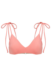Ozero Swimwear Como Bikini Top in Dusty Coral with shoulder ties, reversible to Cloud, sustainable fabrics, made in Bali.