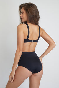 Ozero Swimwear Constance Sustainable Bikini Bottom in Black, back view