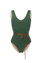 Ozero Swimwear Geneva One-Piece Swimsuit in Forest Green, with belt, reversible to Beige color, Italian Lycra, designed in Malaysia.