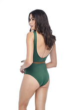 Ozero Swimwear Geneva One-Piece Swimsuit in Forest Green, with belt, worn by model, back view, Italian Lycra, designed in Malaysia.