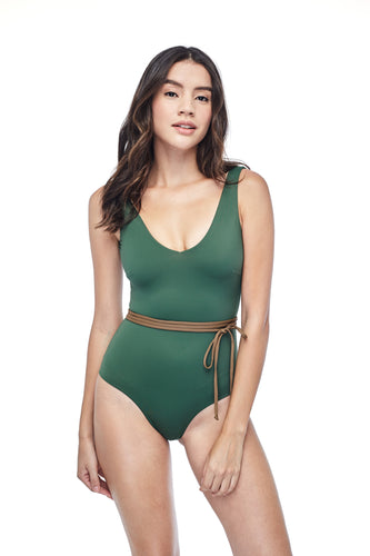 Ozero Swimwear Geneva One-Piece Swimsuit in Forest Green, with belt, worn by model, front view, Italian Lycra, designed in Malaysia.