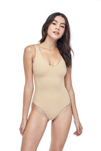 Ozero Swimwear Geneva One-Piece Swimsuit, worn by model on reversible side in Beige color, Italian Lycra, designed in Malaysia.