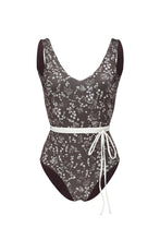 Ozero Swimwear Geneva One-Piece Swimsuit in exclusive textile print, with belt, Italian Lycra, designed in Malaysia.