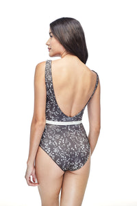 Ozero Swimwear Geneva One-Piece Swimsuit in exclusive textile print, with belt, worn by model, back view, Italian Lycra, designed in Malaysia.