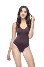 Ozero Swimwear Geneva One-Piece Swimsuit, worn by model on reversible side in Dark Brown color, front view, Italian Lycra, designed in Malaysia.