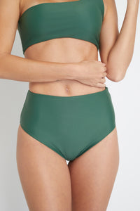 Ozero Swimwear Ladoga Sustainable Bikini Bottom in Forest Green, close-up view