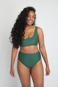 Ozero Swimwear Ladoga Sustainable Bikini Bottom in Forest Green, front view