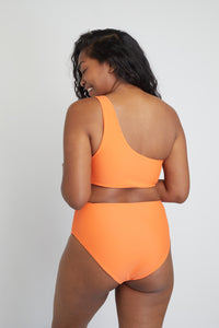 Ozero Swimwear Ladoga Sustainable Bikini Bottom in Papaya, back view