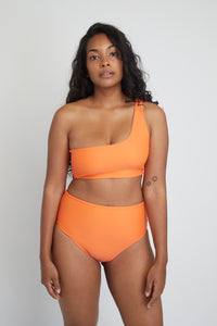 Ozero Swimwear Ladoga Sustainable Bikini Bottom in Papaya, front view
