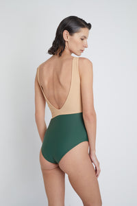 Geneva One-Piece sustainable swimsuit in Forest Green and Beige, back view