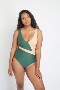 Geneva One-Piece sustainable swimsuit in Forest Green and Beige, front view