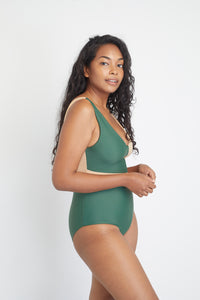 Geneva One-Piece sustainable swimsuit in Forest Green and Beige, side view