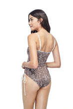 Ozero Swimwear Kvareli One-Piece Swimsuit in exclusive textile print, worn by model, back view, Italian Lycra, designed in Malaysia by Russian designer.