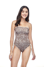 Ozero Swimwear Kvareli One-Piece Swimsuit in exclusive textile print, worn by model with no straps, front view, Italian Lycra, designed in Malaysia by Russian designer.