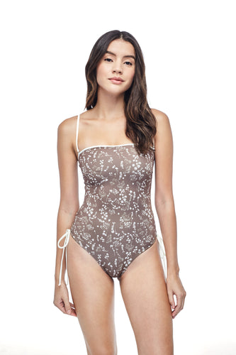 Ozero Swimwear Kvareli One-Piece Swimsuit in exclusive textile print, worn by model, front view, Italian Lycra, designed in Malaysia by Russian designer.