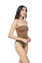 Ozero Swimwear Kvareli One-Piece Swimsuit, worn by model on reversible side, Italian Lycra, designed in Malaysia by Russian designer.