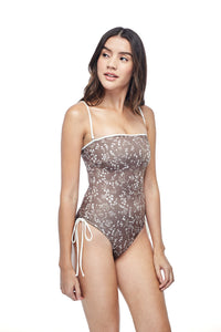 Ozero Swimwear Kvareli One-Piece Swimsuit in exclusive textile print, worn by model, side view, Italian Lycra, designed in Malaysia by Russian designer.