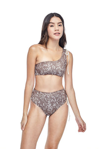 Ozero Swimwear Ladoga High-Waisted Bikini set in exclusive textile print, worn by model, front view, designed in Malaysia.