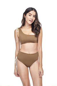 Ozero Swimwear Ladoga High-Waisted Bikini set in exclusive textile print, worn by model on reversible side in Mocha color, front view, designed in Malaysia.