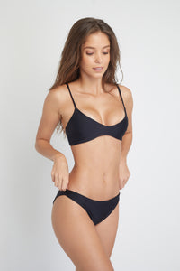 Ozero Swimwear Malawi Sustainable Bikini Top in Black, side view