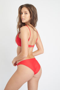 Ozero Swimwear Malawi Sustainable Bikini Top in Scarlet Red, back view
