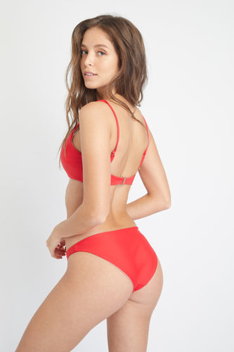 Ozero Swimwear Como Sustainable Bikini Bottom in Scarlet Red, back view