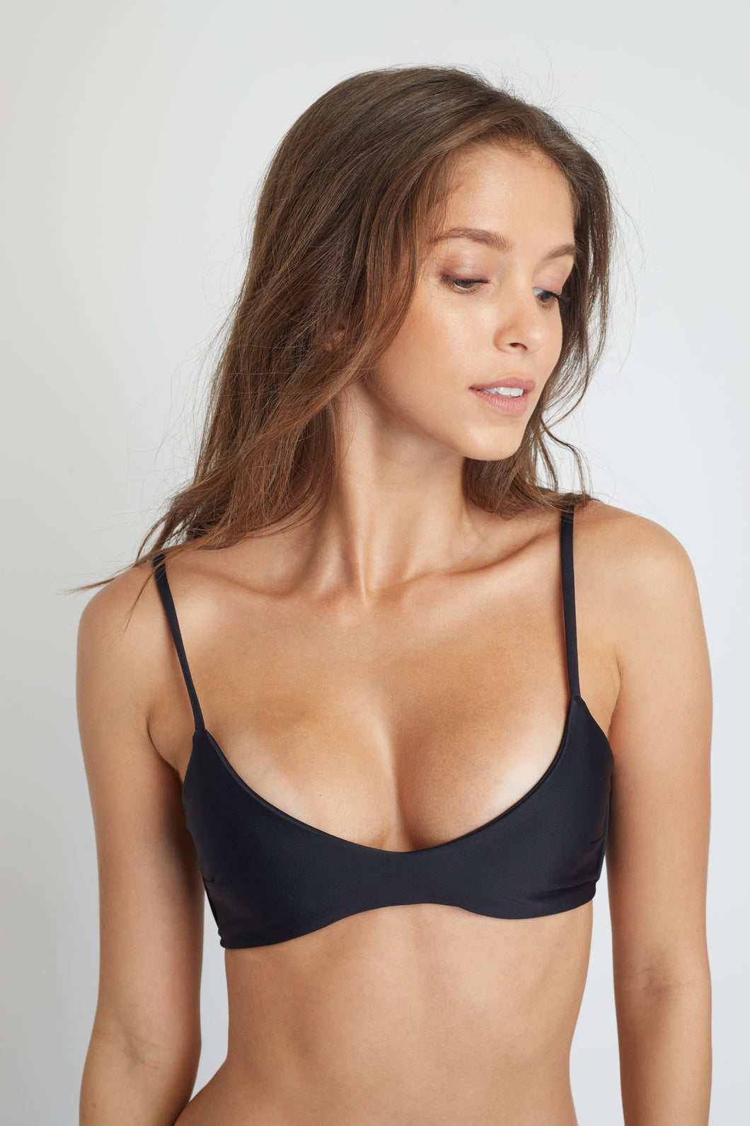 Ozero Swimwear Malawi Sustainable Bikini Top in Black, close-up view