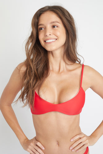 Ozero Swimwear Malawi Sustainable Bikini Top in Scarlet Red, close-up view