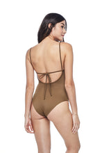 Ozero Swimwear Oron One-Piece sporty Swimsuit in Mocha, worn by model, back view, designed in Malaysia from sustainable fabrics.