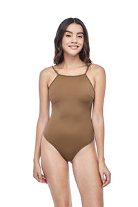 Ozero Swimwear Oron One-Piece sporty Swimsuit in Mocha, worn by model, front view, designed in Malaysia from sustainable fabrics.