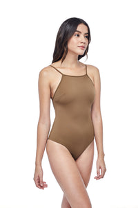 Ozero Swimwear Oron One-Piece sporty Swimsuit in Mocha, worn by model, side view, designed in Malaysia from sustainable fabrics.