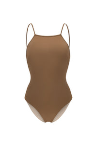 Ozero Swimwear Oron One-Piece sporty Swimsuit in Mocha, designed in Malaysia from sustainable fabrics.