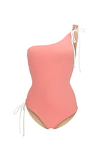 Ozero Swimwear Rotorua One-Piece Swimsuit in Dusty Coral, reversible to Beige, made in Bali from sustainable fabrics.