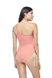 Ozero Swimwear Rotorua One-Piece Swimsuit in Dusty Coral, worn by model, back view, made in Bali from sustainable fabrics.