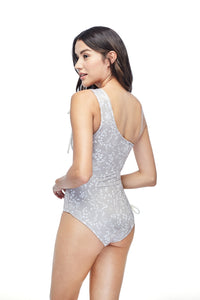 Ozero Swimwear Rotorua One-Piece Swimsuit in print, worn by model, back view, made in Bali from sustainable fabrics.