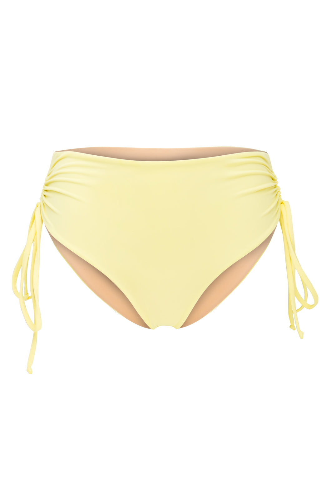 Ozero Swimwear Vida Bikini Bottom in Lemon color, with ruched details at the sides, designed in Kuala Lumpur.