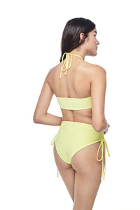 Ozero Swimwear Vida Bikini Set in Lemon color, worn by model, back view, designed in Kuala Lumpur.