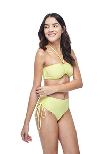 Ozero Swimwear Vida Bikini Set in Lemon color, worn by model, side view, designed in Kuala Lumpur.