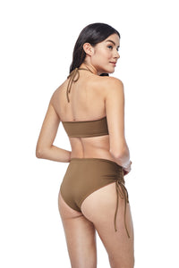 Ozero Swimwear Vida Bikini Set in Mocha color, worn by model, back view, designed in Kuala Lumpur.