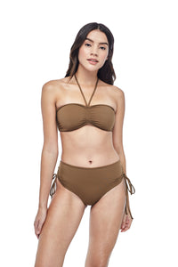 Ozero Swimwear Vida Bikini Set in Mocha color, worn by model, front view, designed in Kuala Lumpur.