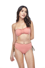 Ozero Swimwear Vida Bikini Set in Mocha color, worn by model on reversible side, designed in Kuala Lumpur.