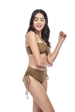 Ozero Swimwear Vida Bikini Set in Mocha color, worn by model, side view, designed in Kuala Lumpur.