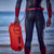 Swim Safety Buoy/Dry Bag 28L pose